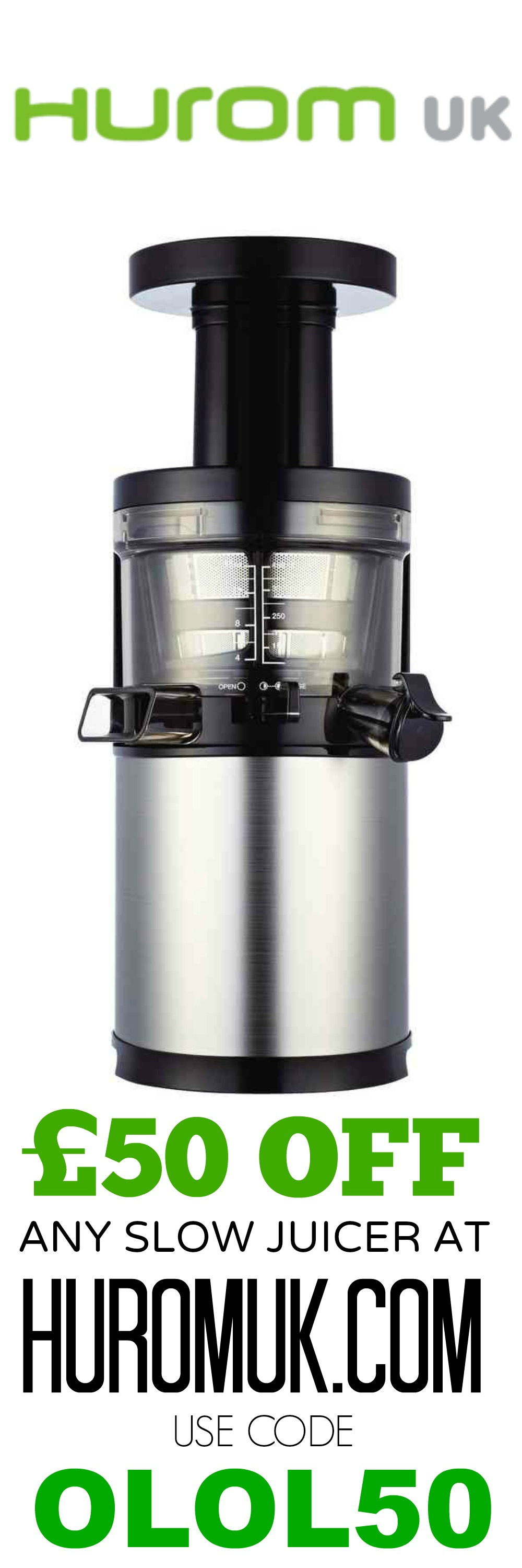 SAVE £50 ON A HUROM JUICER AT HUROMUK.COM USE CODE OLOL50