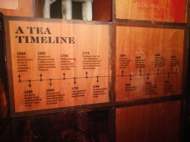 a tea history timeline stencilled onto reproduction tea crates