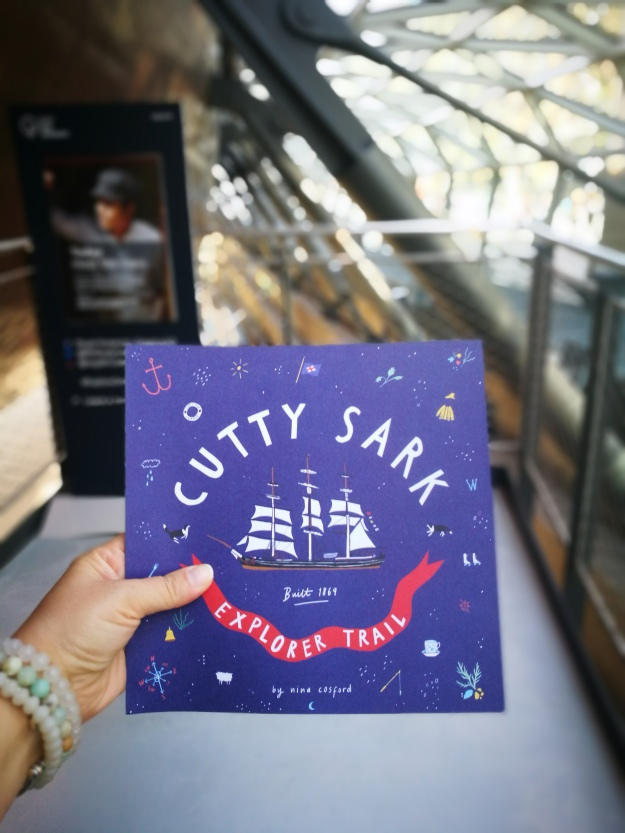 Copy of the cutty sark explorer trail guide for kids - a blue paper pamphlet with cool graphics