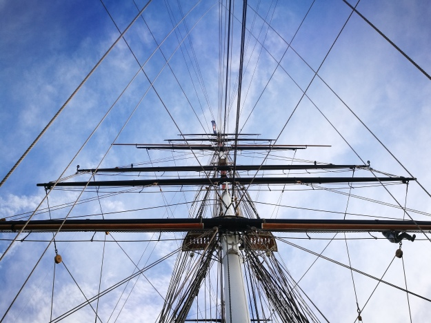 arty photo of the ship's rigging and the sky
