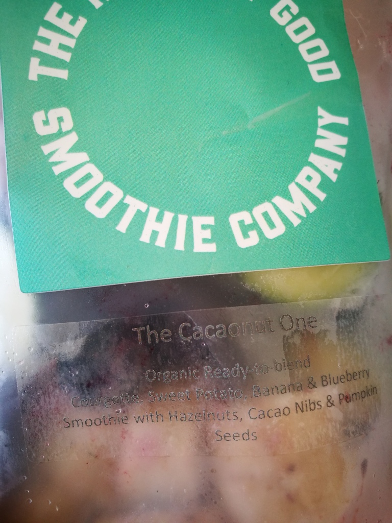 close up of cacaonut smoothie bag