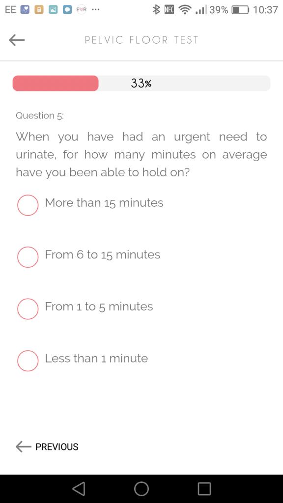 Perifit Pelvic Floor Test screenshot from app.